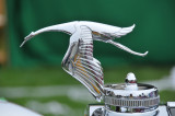 Hood ornament of 1935 Hispano-Suiza K6 Brandone Cabriolet, finalist for Best of Show award