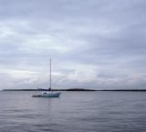 blue boat in blue light