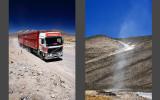 Peruvian desert, Chachani volcano behind the truck