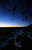Minutes after sunset, High Tatras on horizon