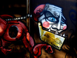 Faces painted on the walls