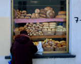 Bread juxtaposed in window
