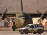 RAF C130 with follow me car