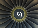 Fanblades and spinner of a jet engine