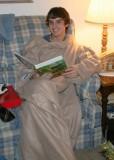 reading in a snuggie