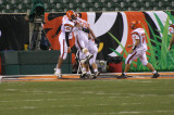 celebrating in the end zone