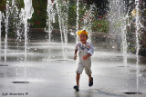 Kid at fountain