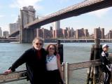 Judy & Richard at the Fulton Ferry Landing Pier, Brooklyn. The Brooklyn Bridge & Manhattan are in the background.