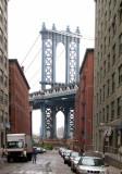 Manhattan Bridge - from Front Street, looking north toward the bridge down Washington Street in the DUMBO area of Brooklyn