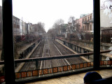 The waiting room of the Cortleyou Road subway station (graffiti on the window) - looking south toward the Newkirk Ave. stop