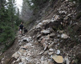 Rock Slide on Packwood Lake Trail, Looking East, NOT SAFE FOR STOCK