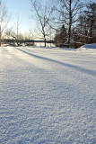Sundown over a snowy field