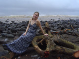 Crystal posing before the log gets hacked up and dragged away