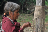 Yuqui woman knotting a fiber bag - Bia Recuate, a Yuqui village on the Rio Chimore