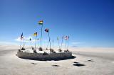 Flags at a salt hotel on the Salar de Uyuni