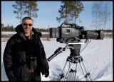 Barrie Britton - Cameraman at BBC Wildlife Film - waiting for a Hawk Owl