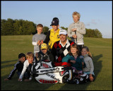 Ryder Cup player Joakim Haeggman with children at Rockatorp - Växjö