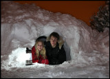 Madelene & Marcus digging a snow cave in our garden (in the middle of the night!)