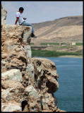Sendning an SMS with a view - Halabiyya  ruins by Euphrates