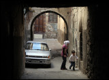 Girl and little brother - old city Damascus