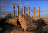 The old ruins in Palmyra in evening light