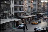 Evening in central Damascus, UN car present