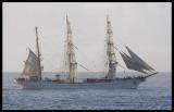 German Tall ship (education) Gorch Fock entering Ponta Delgada, The Azores