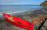 15 Red boat, black sand, blue water 1596