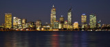 Perth skyline and Swan River at night