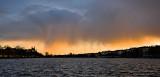 Snow Storm attacks at sunset