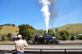 Niles Canyon Railway's Robert Dollar #3 lets off a little steam as she runs around her train.