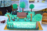The crown of the celebratory cake for Niles Town Plaza