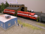 Jeff Ferris' McCloud SD38s at the lumber mill at  Iona