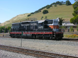 Niles Canyon Scenic Railway's black widow SD9 just outside the back door.