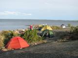 Vy över delar av lägerplatsen