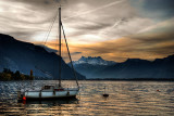 Small boat at dawn, Montreux