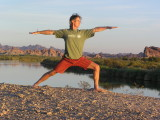 Practicing yoga while on a Colorado River Canoe trip