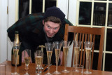 Inspecting the champagne level