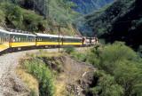 The train climbing inland near Temoris