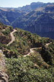 Hairpin bends on the road down into Batopilas