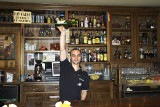 Pouring cider at a sidreria in Gijon, Asturias