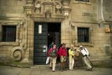 Pilgrims arriving at Santiago de Compostela