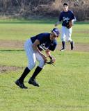 Northampton pitcher fields bunt...checks runner at third
