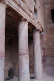 Note the pattern in the rock on the pillar as it passes into the rock above -- this is one piece carved in place!