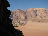 I moved on to Wadi Rum -- you can see the village dwarfed by the rock behind it.  We climed these for 2 days.