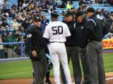 Bobby Meachum presents the Yankees lineup card