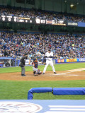 Shelley Duncan bats; Pudge returns the ball to the mound