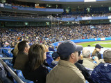 Fans, the backstop, the press box and behind home plate