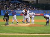 End of a conference on the mound