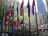 Flags around Rockefeller Plaza